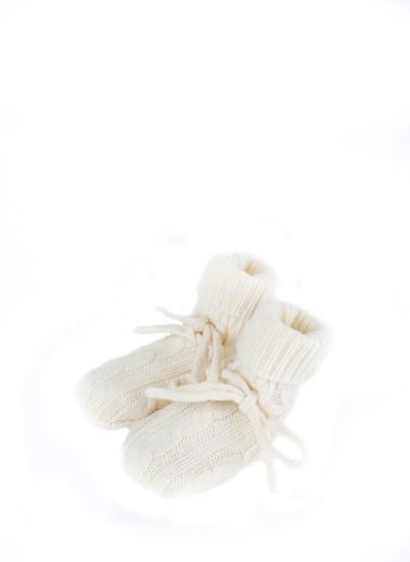 Silk and Cashmere Saf Kaşmir Bebek Patiği Beyaz